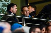 14 December 2019; An Taoiseach Leo Varadkar, right, during the Heineken Champions Cup Pool 1 Round 4 match between Leinster and Northampton Saints at the Aviva Stadium in Dublin. Photo by Stephen McCarthy/Sportsfile