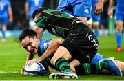14 December 2019; James Lowe of Leinster scores his side's fifth try despite the tackle of Dan Biggar of Northampton Saints during the Heineken Champions Cup Pool 1 Round 4 match between Leinster and Northampton Saints at the Aviva Stadium in Dublin. Photo by Ramsey Cardy/Sportsfile