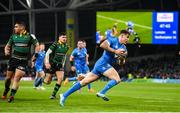 14 December 2019; Garry Ringrose of Leinster scores his third try of the Heineken Champions Cup Pool 1 Round 4 match between Leinster and Northampton Saints at the Aviva Stadium in Dublin. Photo by Stephen McCarthy/Sportsfile