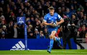14 December 2019; Garry Ringrose of Leinster on his way to scoring his side's sixth try during the Heineken Champions Cup Pool 1 Round 4 match between Leinster and Northampton Saints at the Aviva Stadium in Dublin. Photo by Ramsey Cardy/Sportsfile