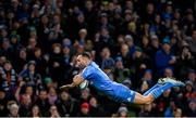 14 December 2019; Dave Kearney of Leinster dives over to score a try, which was subsequently disallowed, during the Heineken Champions Cup Pool 1 Round 4 match between Leinster and Northampton Saints at the Aviva Stadium in Dublin. Photo by Ramsey Cardy/Sportsfile