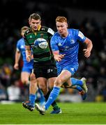 14 December 2019; Ciarán Frawley of Leinster in action against Dan Biggar of Northampton Saints during the Heineken Champions Cup Pool 1 Round 4 match between Leinster and Northampton Saints at the Aviva Stadium in Dublin. Photo by Ramsey Cardy/Sportsfile