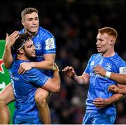 14 December 2019; Caelan Doris, left, is congratulated by Leinster team-mates Jordan Larmour and Ciarán Frawley after scoring a try during the Heineken Champions Cup Pool 1 Round 4 match between Leinster and Northampton Saints at the Aviva Stadium in Dublin. Photo by Ramsey Cardy/Sportsfile