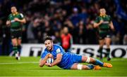 14 December 2019; Caelan Doris of Leinster scores his side's seventh try during the Heineken Champions Cup Pool 1 Round 4 match between Leinster and Northampton Saints at the Aviva Stadium in Dublin. Photo by Stephen McCarthy/Sportsfile