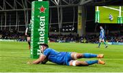 14 December 2019; Caelan Doris of Leinster scores his side's eighth try during the Heineken Champions Cup Pool 1 Round 4 match between Leinster and Northampton Saints at the Aviva Stadium in Dublin. Photo by Sam Barnes/Sportsfile
