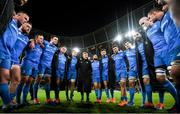 14 December 2019; The Leinster team huddle following their victory in the Heineken Champions Cup Pool 1 Round 4 match between Leinster and Northampton Saints at the Aviva Stadium in Dublin. Photo by Ramsey Cardy/Sportsfile