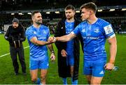 14 December 2019; Dave Kearney, left, Ross Byrne, centre, and Garry Ringrose of Leinster following the Heineken Champions Cup Pool 1 Round 4 match between Leinster and Northampton Saints at the Aviva Stadium in Dublin. Photo by Ramsey Cardy/Sportsfile