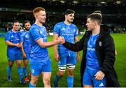 14 December 2019; Ciarán Frawley, left, and Luke McGrath of Leinster following the Heineken Champions Cup Pool 1 Round 4 match between Leinster and Northampton Saints at the Aviva Stadium in Dublin. Photo by Ramsey Cardy/Sportsfile
