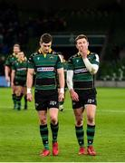 14 December 2019; Fraser Dingwal, right, and James Grayson of Northampton Saints, dejected following the Heineken Champions Cup Pool 1 Round 4 match between Leinster and Northampton Saints at the Aviva Stadium in Dublin. Photo by Sam Barnes/Sportsfile