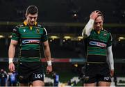 14 December 2019; James Grayson, left, and Fraser Dingwal of Northampton Saints following the Heineken Champions Cup Pool 1 Round 4 match between Leinster and Northampton Saints at the Aviva Stadium in Dublin. Photo by Stephen McCarthy/Sportsfile