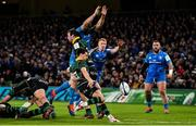14 December 2019; James Mitchell of Northampton Saints attempts a box kick despite the efforts of  Scott Fardy, left, and Ciarán Frawley of Leinster during the Heineken Champions Cup Pool 1 Round 4 match between Leinster and Northampton Saints at the Aviva Stadium in Dublin. Photo by Sam Barnes/Sportsfile