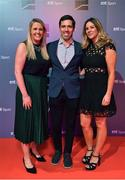 14 December 2019; In attendance during the RTÉ Sports Awards 2019 at RTÉ studios in Donnybrook, Dublin, are, from left, RTÉ presenters Jacqui Hurley, Paul O'Flynn and Marie Crowe. Photo by Brendan Moran/Sportsfile