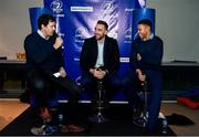 14 December 2019; Former Leinster player Mike McCarthy, left, with Leinster players Jack Conan, centre, and Adam Byrne, during a Q and A in The Blue Room at the Heineken Champions Cup Pool 1 Round 4 match between Leinster and Northampton Saints at the Aviva Stadium in Dublin. Photo by Sam Barnes/Sportsfile