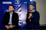 14 December 2019; Leinster players Jack Conan, left, and Adam Byrne, during a Q and A in The Blue Room at the Heineken Champions Cup Pool 1 Round 4 match between Leinster and Northampton Saints at the Aviva Stadium in Dublin. Photo by Sam Barnes/Sportsfile