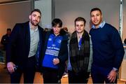 14 December 2019; Leinster players Adam Byrne and Jack Conan with guests in The Blue Room at the Heineken Champions Cup Pool 1 Round 4 match between Leinster and Northampton Saints at the Aviva Stadium in Dublin. Photo by Sam Barnes/Sportsfile