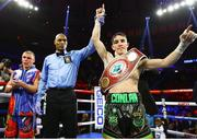 14 December 2019; Michael Conlan celebrates defeating Vladimir Nikitin in their featherweight bout at Madison Square Garden in New York, USA. Photo by Mikey Williams/Top Rank/Sportsfile