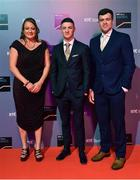 14 December 2019; In attendance during the RTÉ Sports Awards 2019 at RTÉ studios in Donnybrook, Dublin, is gymnast and 2019 World Championships Pommel Horse bronze medallist Rhys McClenaghan with Sally Johnson and Andrew Smith. Photo by Brendan Moran/Sportsfile