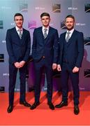 14 December 2019; In attendance during the RTÉ Sports Awards 2019 at RTÉ studios in Donnybrook, Dublin, are Dubdalk FC players, from left, Daniel Kelly, Sean Gannon and Dane Massey. Photo by Brendan Moran/Sportsfile