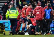 14 December 2019; Munster Head of Medical Dr Jamie Kearns, left, and lead physiotherapist Damien Mordan, right, treat Tadhg Beirne of Munster following an injury sustained in a tackle from Vincent Koch of Saracens during the Heineken Champions Cup Pool 4 Round 4 match between Saracens and Munster at Allianz Park in Barnet, England. Photo by Seb Daly/Sportsfile