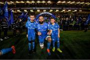 14 December 2019; Mascots 10 year old Felix Kehoe, from Greystones, Co. Wicklow, and 10 year old Jamie Winston, from Ratoath, Co. Meath, with Leinster captain Scott Fardy at the Heineken Champions Cup Pool 1 Round 4 match between Leinster and Northampton Saints at the Aviva Stadium in Dublin. Photo by Ramsey Cardy/Sportsfile