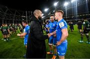14 December 2019; Scott Fardy, left, Caelan Doris, centre, and Ciarán Frawley of Leinster following the Heineken Champions Cup Pool 1 Round 4 match between Leinster and Northampton Saints at the Aviva Stadium in Dublin. Photo by Ramsey Cardy/Sportsfile