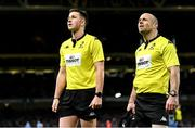 14 December 2019; Referee Daniel Jones, left, and assistant referee Dewi Phillips during the Heineken Champions Cup Pool 1 Round 4 match between Leinster and Northampton Saints at the Aviva Stadium in Dublin. Photo by Ramsey Cardy/Sportsfile