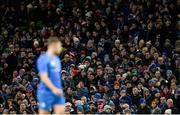 14 December 2019; Leinster supporters during the Heineken Champions Cup Pool 1 Round 4 match between Leinster and Northampton Saints at the Aviva Stadium in Dublin. Photo by Ramsey Cardy/Sportsfile
