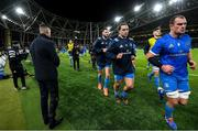 14 December 2019; Leinster captain Jonathan Sexton applauds the Leinster team off the pitch ahead of the Heineken Champions Cup Pool 1 Round 4 match between Leinster and Northampton Saints at the Aviva Stadium in Dublin. Photo by Ramsey Cardy/Sportsfile