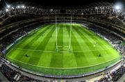 14 December 2019; A general view during a light show at the Heineken Champions Cup Pool 1 Round 4 match between Leinster and Northampton Saints at the Aviva Stadium in Dublin. Photo by Ramsey Cardy/Sportsfile
