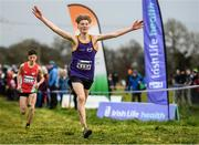15 December 2019; Myles Hewlett of United Striders A.C., Co. Wexford, celebrates on his way to winning the U15 Boy's 3500m during the Irish Life Health Novice & Juvenile Uneven XC at Cow Park in Dunboyne, Co. Meath. Photo by Harry Murphy/Sportsfile