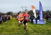 15 December 2019; Finn Duignan of St. Cronans A.C., Co. Clare, on his way to winning the U13 Boy's 3500m during the Irish Life Health Novice & Juvenile Uneven XC at Cow Park in Dunboyne, Co. Meath. Photo by Harry Murphy/Sportsfile