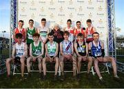 15 December 2019; Medalists with Georgina Drumm President of Athletics Ireland following the U19 Boy's 6000m during the Irish Life Health Novice & Juvenile Uneven XC at Cow Park in Dunboyne, Co. Meath. Photo by Harry Murphy/Sportsfile