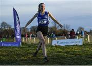 15 December 2019; Cliona Murphy of Dublin City Harriers A.C., Co. Dublin, celebrates on her way to winning the Novice Women's 4000m during the Irish Life Health Novice & Juvenile Uneven XC at Cow Park in Dunboyne, Co. Meath. Photo by Harry Murphy/Sportsfile