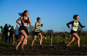15 December 2019; Marie Howard of Clonliffe Harriers A.C., Co. Dublin, left, Tina Kneafsey of Castlegar A.C., Co. Galway, centre, and Michelle Brennan of St. Abbans A.C., Co. Laois, competing in the Novice Women's 4000m during the Irish Life Health Novice & Juvenile Uneven XC at Cow Park in Dunboyne, Co. Meath. Photo by Harry Murphy/Sportsfile