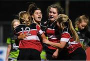 15 December 2019; Wicklow players celebrate a try during the Leinster Rugby Girls 18s Cup Final match between Port Dara and Wicklow at Energia Park in Donnybrook, Dublin. Photo by Ramsey Cardy/Sportsfile