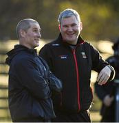 16 December 2019; Senior coach Stuart Lancaster, left, in conversation with Mayo football manager James Horan during Leinster Rugby squad training at UCD, Dublin. Photo by Ramsey Cardy/Sportsfile