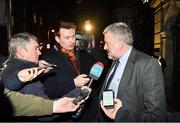 16 December 2019; FAI lead executive Paul Cooke is interviewed by media following a meeting with Minister for Transport, Tourism and Sport Shane Ross T.D., and Minister of State for Tourism and Sport, Brendan Griffin T.D., at Dáil Éireann. Photo by Seb Daly/Sportsfile