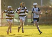 17 December 2019; Kevin Byrne of Dublin North Schools in action against Cian Kenny, left, and Harry Walsh of St Kieran's College during the Top Oil Leinster Schools Senior A Hurling Championship First Round match between Dublin North Schools and St Kieran's College at Naomh Barróg GAA Club in Kilbarrack, Dublin. Photo by Harry Murphy/Sportsfile