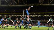 14 December 2019; Caelan Doris of Leinster claims the ball from a line out  during the Heineken Champions Cup Pool 1 Round 4 match between Leinster and Northampton Saints at the Aviva Stadium in Dublin. Photo by Sam Barnes/Sportsfile