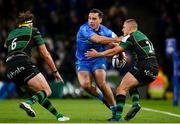 14 December 2019; James Lowe of Leinster in action against Ollie Sleightholme, right, and Tom Wood of Northampton Saints during the Heineken Champions Cup Pool 1 Round 4 match between Leinster and Northampton Saints at the Aviva Stadium in Dublin. Photo by Sam Barnes/Sportsfile