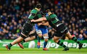 14 December 2019; Scott Fardy of Leinster is tackled by Lewis Bean, left, and Paul Hill of Northampton Saints during the Heineken Champions Cup Pool 1 Round 4 match between Leinster and Northampton Saints at the Aviva Stadium in Dublin. Photo by Sam Barnes/Sportsfile