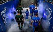 14 December 2019; Scott Fardy of Leinster and Tom Wood of Northampton Saints lead their teams out ahead of the Heineken Champions Cup Pool 1 Round 4 match between Leinster and Northampton Saints at the Aviva Stadium in Dublin. Photo by Sam Barnes/Sportsfile