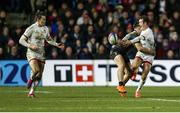 13 December 2019; Billy Burns of Ulster passes to team-mate Jacob Stockdale during the Heineken Champions Cup Pool 3 Round 4 match between Harlequins and Ulster at Twickenham Stoop in London, England. Photo by John Dickson/Sportsfile