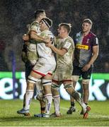 13 December 2019; John Cooney of Ulster celebrates with team-mates after scoring his second try during the Heineken Champions Cup Pool 3 Round 4 match between Harlequins and Ulster at Twickenham Stoop in London, England. Photo by John Dickson/Sportsfile