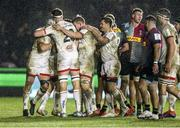 13 December 2019; Ulster players celebrate after team-mate John Cooney scored his second try during the Heineken Champions Cup Pool 3 Round 4 match between Harlequins and Ulster at Twickenham Stoop in London, England. Photo by John Dickson/Sportsfile