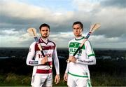 19 December 2019; Slaughtneil Hurler Chrissy McKaigue, left, is pictured with Ballyhale Shamrocks and Kilkenny Hurler Joey Holden ahead of the AIB GAA All-Ireland Senior Hurling Club Championship Semi-Final where they face Ballyhale Shamrocks of Kilkenny on Sunday January 5th at Páirc Esler, Newry. AIB is in its 29th year sponsoring the GAA Club Championship and is delighted to continue to support the Junior, Intermediate and Senior Championships across football, hurling and camogie. For exclusive content and behind the scenes action throughout the AIB GAA & Camogie Club Championships follow AIB GAA on Facebook, Twitter, Instagram and Snapchat. Photo by Eóin Noonan/Sportsfile