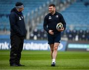 19 December 2019; Fergus McFadden, right, speaks with Scrum coach Robin McBryde during a Leinster Rugby Captains Run at the RDS Arena in Dublin. Photo by Harry Murphy/Sportsfile