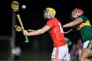 20 December 2019; Sean Twomey of Cork in action against Fionan Mackessy of  Kerry during the Co-op Superstores Munster Hurling League 2020 Group B match between Cork and Kerry at Mallow GAA Grounds in Mallow, Cork. Photo by Matt Browne/Sportsfile