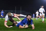 20 December 2019; Robbie Henshaw of Leinster goes over to score his side's fourth try despite the tackle of David Shanahan of Ulster during the Guinness PRO14 Round 8 match between Leinster and Ulster at the RDS Arena in Dublin. Photo by Harry Murphy/Sportsfile
