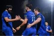 20 December 2019; Robbie Henshaw of Leinster celebrates after scoring his side's fourth try with Scott Fardy, left, and Peter Dooley during the Guinness PRO14 Round 8 match between Leinster and Ulster at the RDS Arena in Dublin. Photo by Harry Murphy/Sportsfile